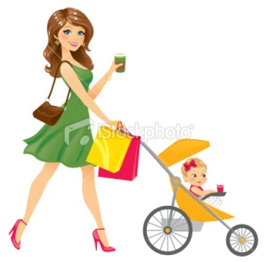 stock-illustration-22465373-mom-walking-baby-in-stroller