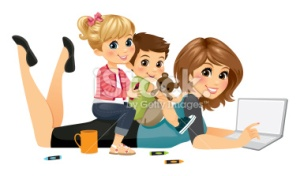 stock-illustration-59612426-blogging-mom-with-kids
